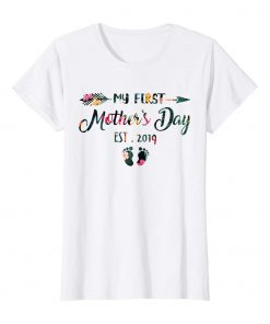 Womens My First Mothers Day Pregnancy Announcement Tee