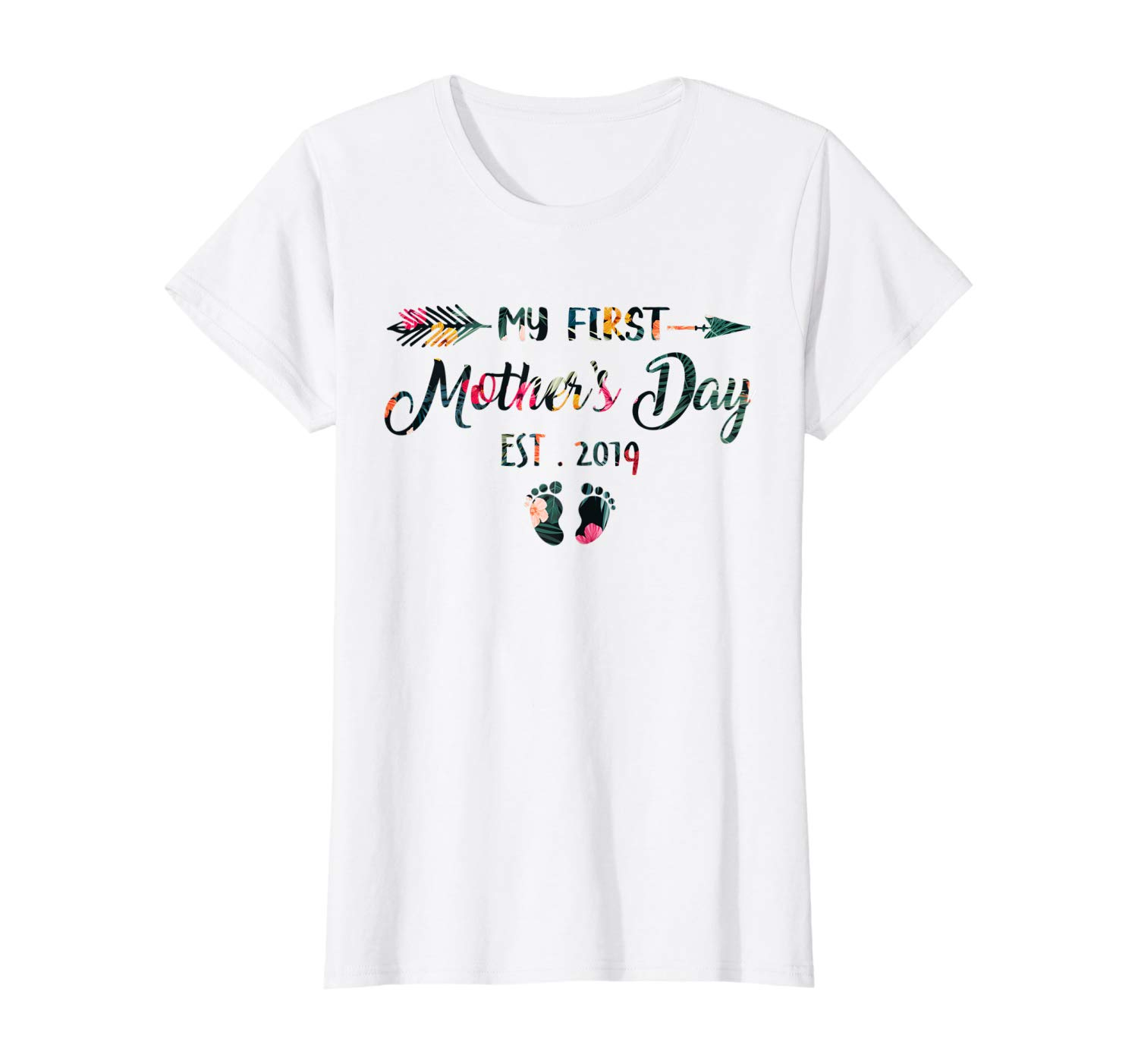 da4cad689a232 Womens My First Mothers Day Pregnancy Announcement Tee