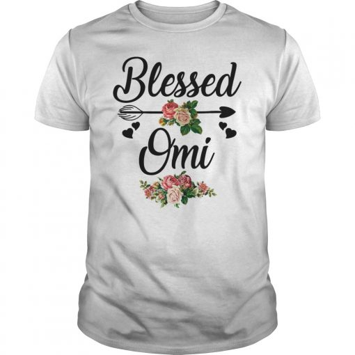 Womens Blessed Omi Flowers Heart Mothers Day T-Shirt