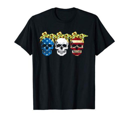 Classic Mens Flag Skull Sunflower Gift Shirt