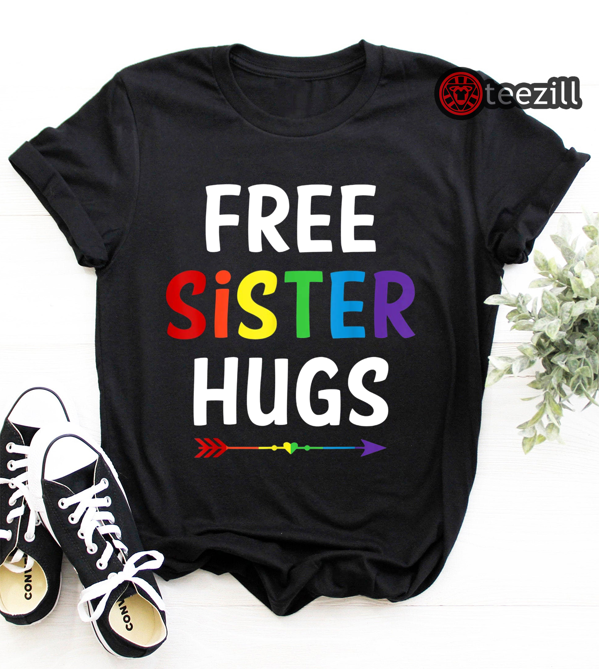 how to choose so cheap recognized brands Free Sister Hugs LGBT Heart Gay Flag T-Shirts Men, Women QuocTe Tee!