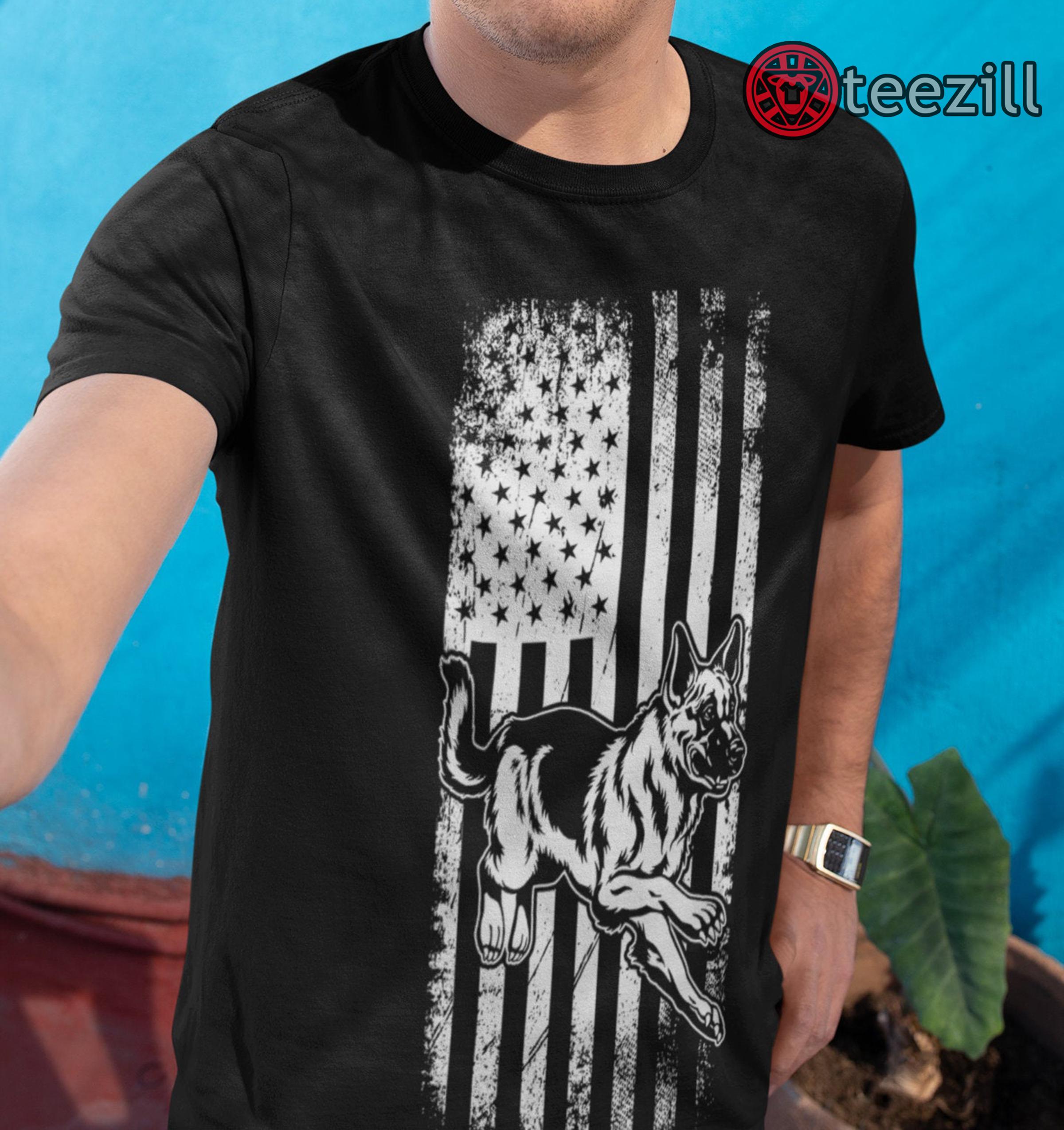German Shepherd American Flag Shirt USA Patriotic Dog Gift Vintage Men Gift Tee