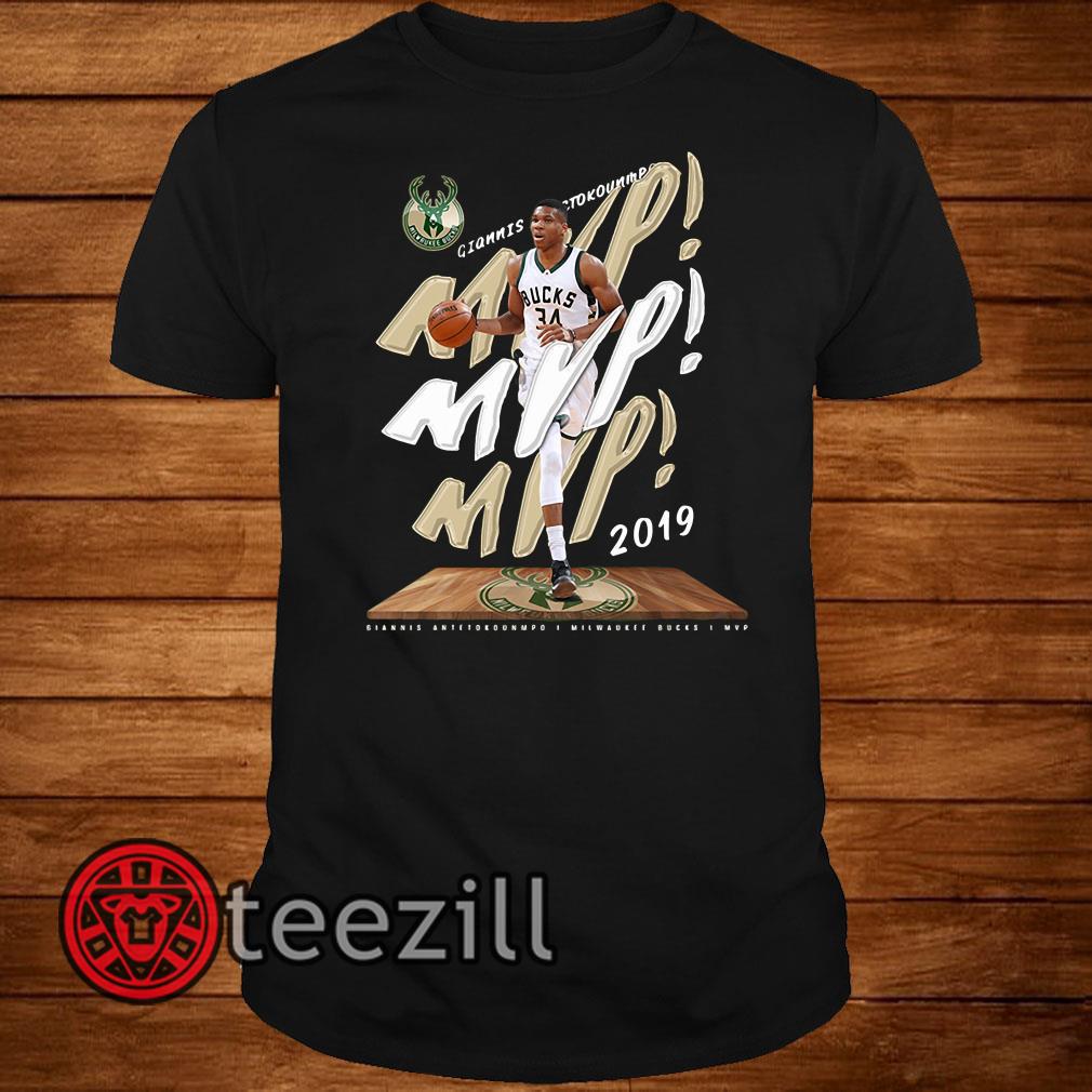 sports shoes a9521 4f1df Fanatics Giannis Antetokounmpo 2019 NBA MVP Milwaukee Bucks shir