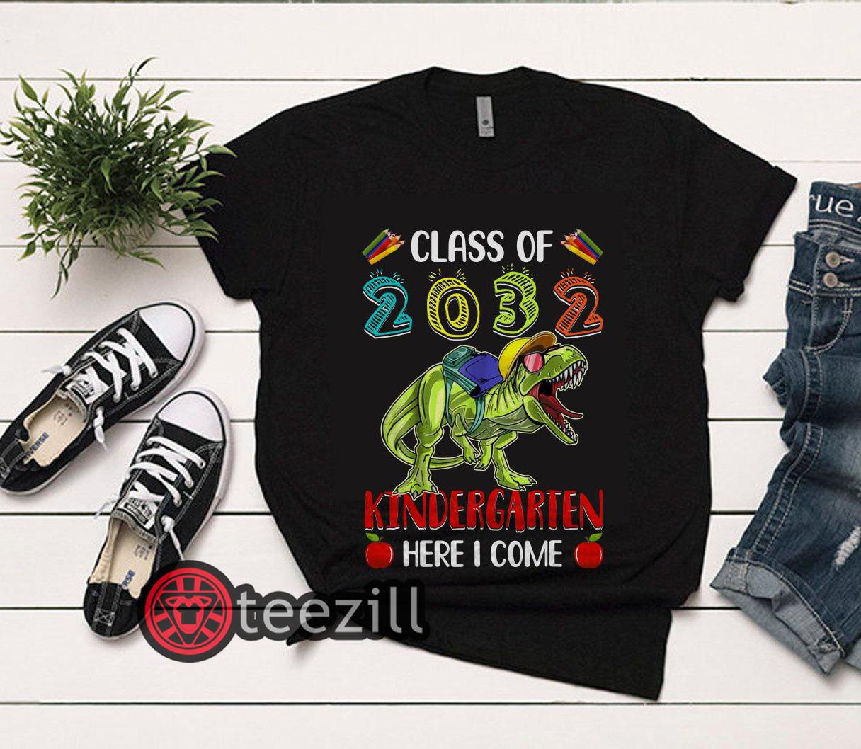 Clickbuypro Unisex Tshirt Son Boy Kid T-rex Kindergarten Here I Come Class Of 2032 T-shirt Sweater Blue M