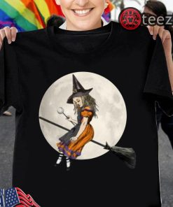 Alice In Wonderland Witch Flying on Broom Halloween Costume Youth Kids Shirt