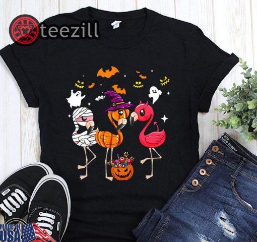 Flamingo halloween pumpkin witch ghost halloween shirt
