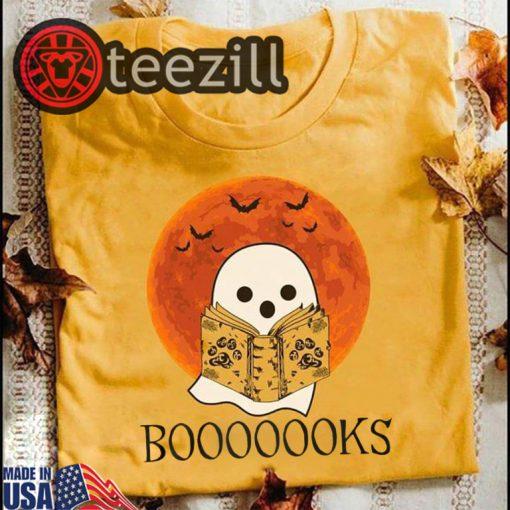 Halloween boooooks ghost reading books shirt