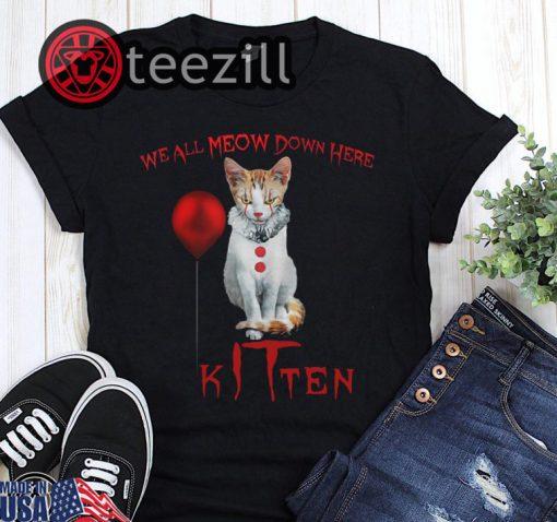 Halloween we all meow down here clown cat kitten shirt