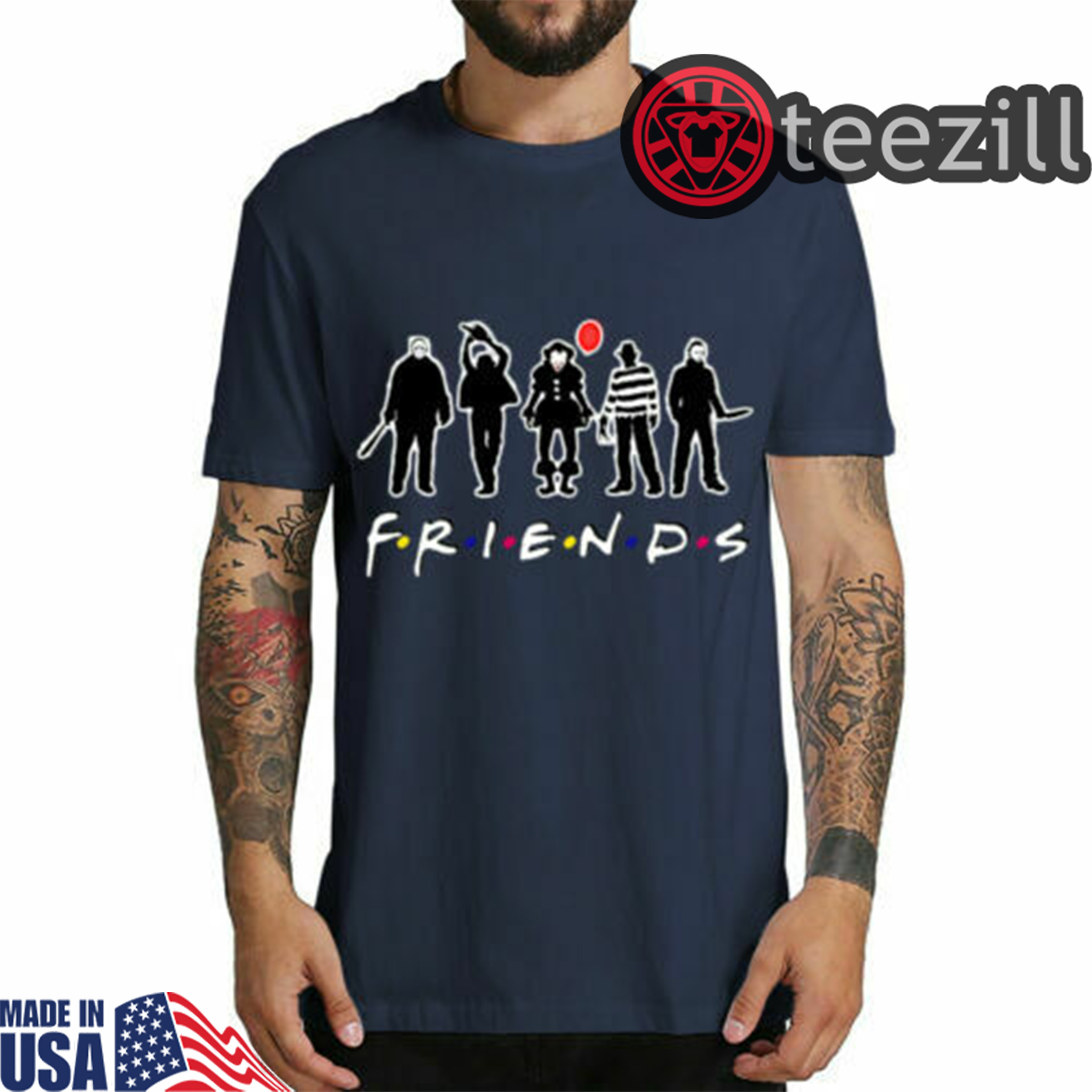 Halloween Friends Shirt.Horror Friends Shirt Pennywise Michael Myers Jason Voorhees T Shirt Halloween