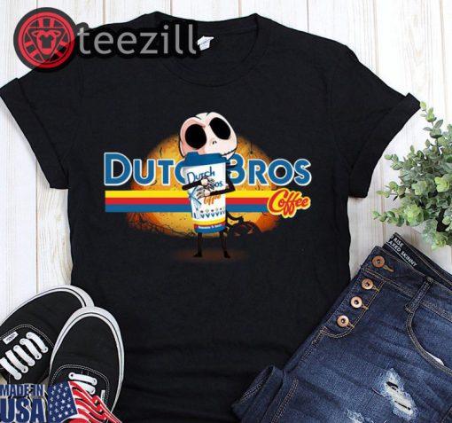 Men's Jack skellington hug dutch bros coffee halloween shirt