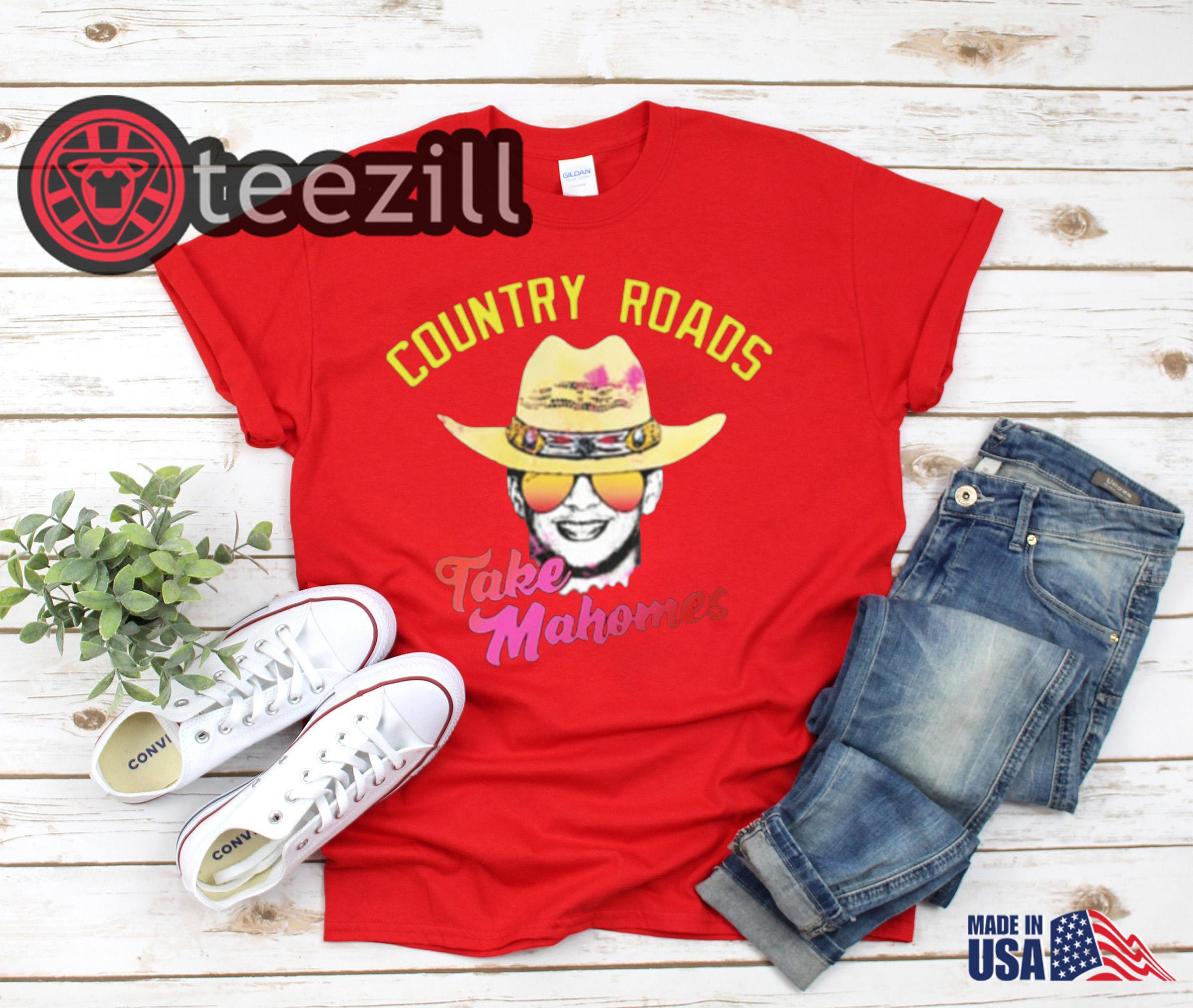 on sale 41ecb 17f13 Patrick mahomes country roads take mahomes kansas city chiefs shirts