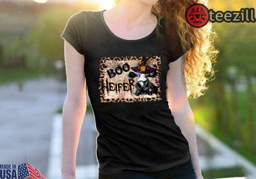 Boo Heifer Leopard Frame Halloween Shirt