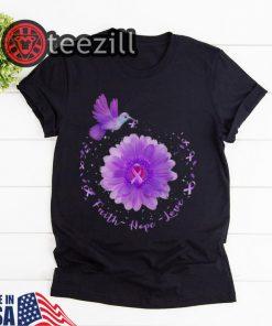 Awesome Faith Hope Love Hummingbird Daisy Alzheimer's Awareness Tshirt