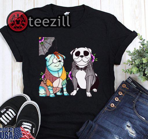 Bulldog sally and jack skellington halloween shirt