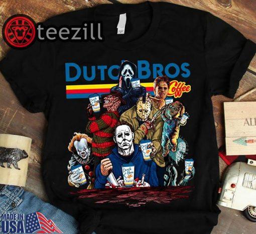 Halloween Horror Characters Dutch Bros Coffee Shirt