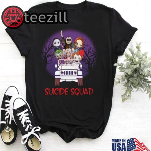 Halloween Horror Characters drive Jeep Suicide squad shirt