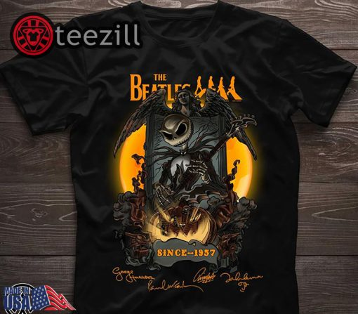 Halloween jack skellington the beatles since 1957 signatures shirt