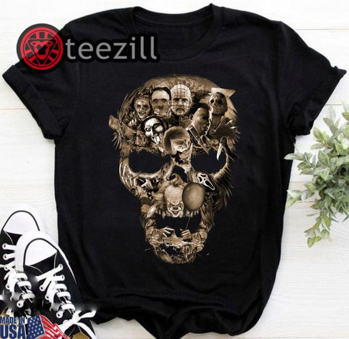 Halloween skull horror characters movie shirt