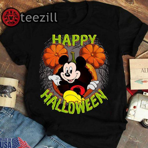 Women's Disney mickey mouse pumpkin happy halloween t-shirt