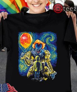 PENNYWISE AND GEORGIE SHIRT Pennywise Van Gogh Style Halloween Tshirt