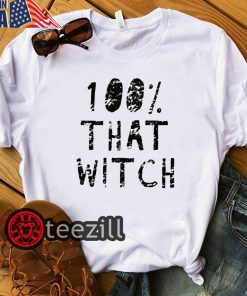 Womens 100% THAT WITCH Shirt Funny Men's Halloween Witch Tshirt