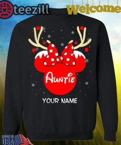 Nice Custom Name Minnie Reindeer Auntie Family Christmas Shirt