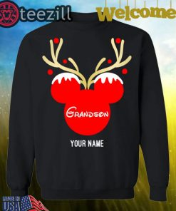 Nice Custom Name Grandson Mickey Reindeer Family Christmas Shirt