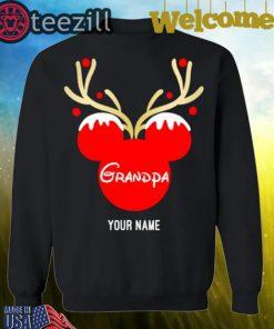 Nice Custom Name Grandpa Mickey Reindeer Family Christmas Shirt