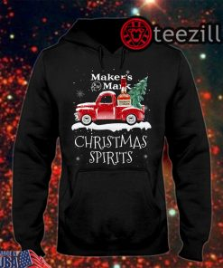 Christmas Spirits Maker's Mark Whisky On Red Old Truck Shirt