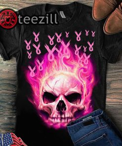 Breast Cancer Awareness Fire Skull Version Shirts