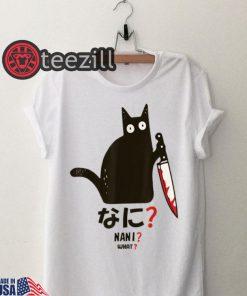 Cat nani black cat with knife tshirts