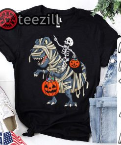 Halloween Skeleton Riding T Rex Funny Gift TShirt