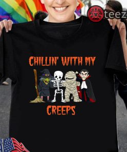 Halloween Skeleton Witch Gift Chillin With My Creeps Vampire Shirt