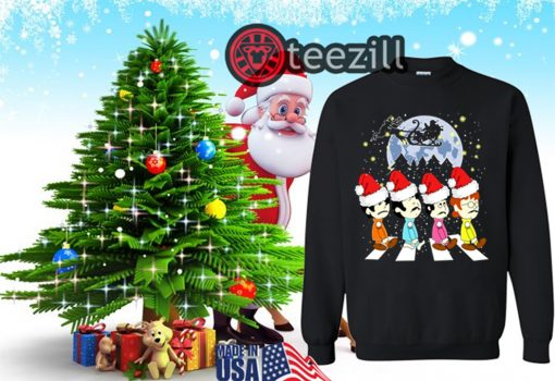 Merry Christmas The Beatles Crossing Street Christmas Shirt Sweat