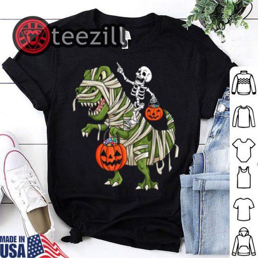 Skeleton Riding T Rex Funny Halloween Shirt