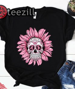 Sunflower Sugar Skull Breast Cancer Awareness Tshirt