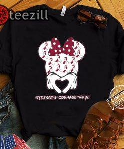 Strength Courage Hope Head And Neck Cancer Awareness Minnie Shirt