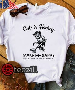 Cats & hockey make me happy humans make my head hurt tshirt