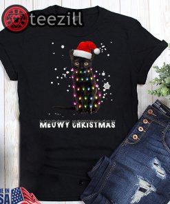 Black cat meowy christmas shirt
