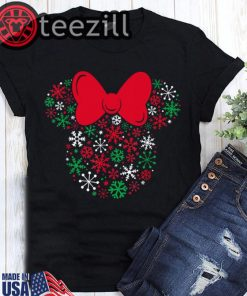 Disney Minnie Mouse Icon Holiday Snowflakes T-Shirts