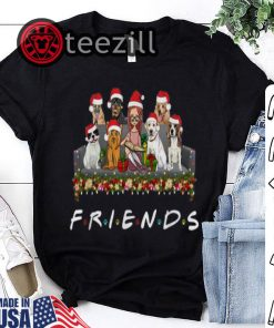 Girl and Dogs Friends Christmas Tshirt