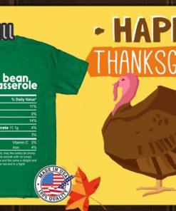 Green Bean Casserole Nutrition Facts Thanksgiving Shirts