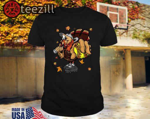 Happy Turkey Holding Softball Thanksgiving day Sport Lover Shirt