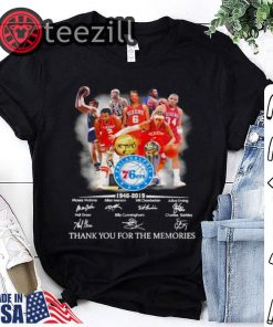 Philadelphia 76ers players signatures thank you for the memories Tshirt