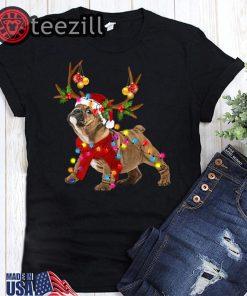 Santa bulldog gorgeous reindeer christmas lights t-shirt