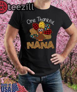 Thankgivings One Thankful Nana Turkey Leopart TShirt