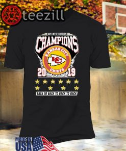AFC West Division Champions Kansas City Chiefs 2019 Back To Back TShirt
