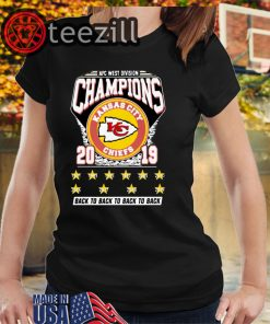 AFC West Division Champions Kansas City Chiefs 2019 Back To Back TShirts