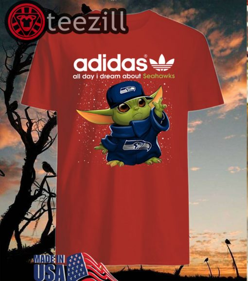 Adidas All Day I Dream About Seahawks Baby Yoda T Shirt