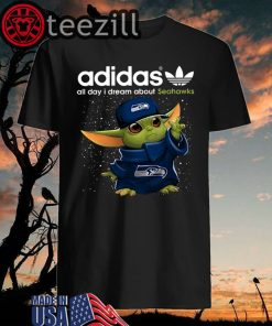 Adidas All Day I Dream About Seahawks Baby Yoda T Shirts